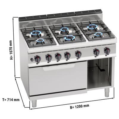 موقد طهي غازي بستة شعلات 42 كيلوواط - فرن بغاز ستاتيك 7.8 كيلوواط