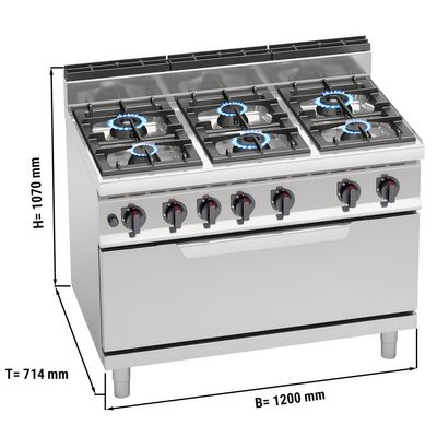 Gasherd mit 6 Brennern (42 kW) + Gasofen statisch (12 kW)