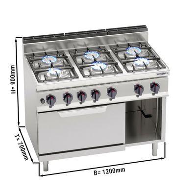 Gasherd 6 Brenner (33,5 kW) + Elektroofen Statisch (7,5 kW)