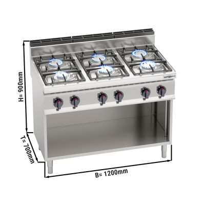 Gas stove 6x burners (33.5 kW) with pilot flame
