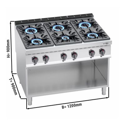 Gas stove 6x burners (53.5 kW) with pilot flame