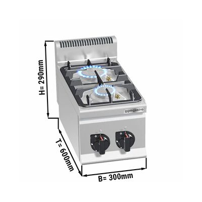 Gas stove with 2 burners (9,5 kW) with pilot flame