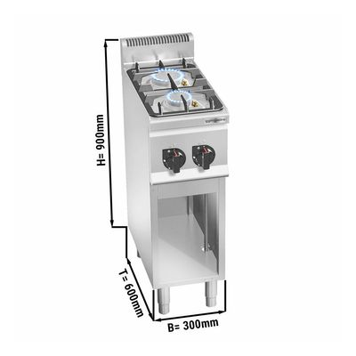 Gas stove 2x burners (9.5 kW) with pilot flame