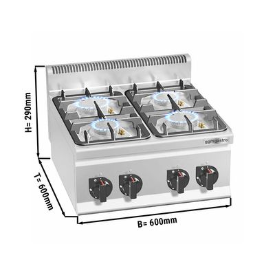 Gas stove 4x burners (19 kW) with pilot flame