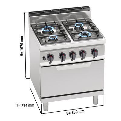 Gasherd mit 4 Brennern (28 kW) + Gasofen statisch (7,8 kW)