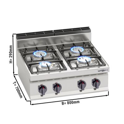 Gas stove 4x burners (21.5 kW) with pilot flame