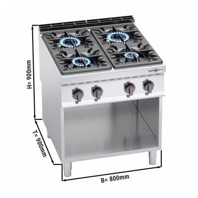 Gas stove 4x burners (34.5 kW) with pilot flame