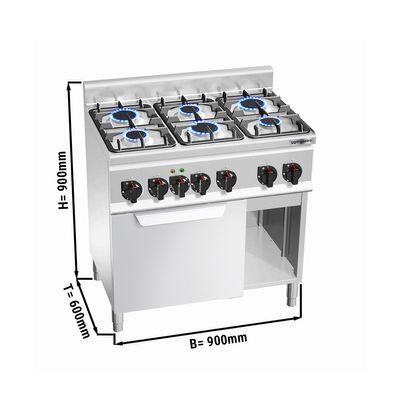 موقد غاز ذو ستة رؤوس 18.6 كيلو واط مع فرن  حراري كهربائي 3 كيلو واط