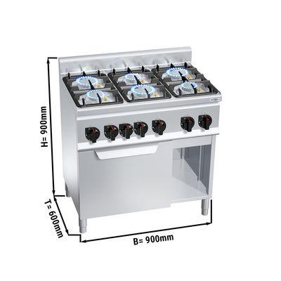 موقد غاز ذو ستة رؤوس 28.5 كيلو واط مع فرن  حراري كهربائي 3 كيلو واط