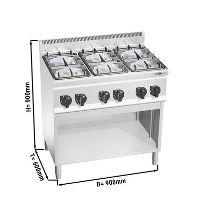 Gas stove 6x burners (28.5 kW) with pilot flame