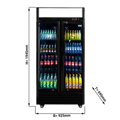 Beverage refrigerators- 630 Liter- 2 glass door- Black