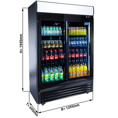 Getränkekühlschrank Schwarz - 880 Liter - mit 2 Glasschiebetüren