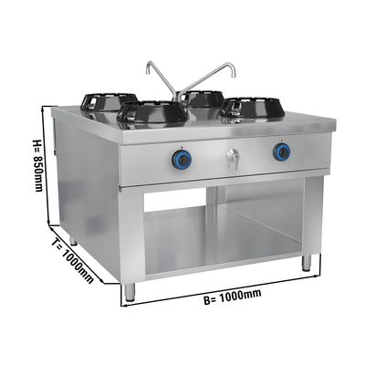 Gas wok stove - with 4 hobs - 56 kW