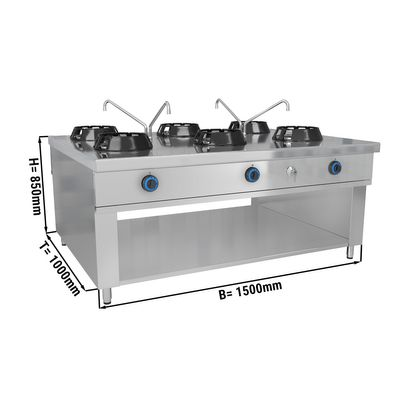 Gas wok stove - with 6 hobs - 84 kW