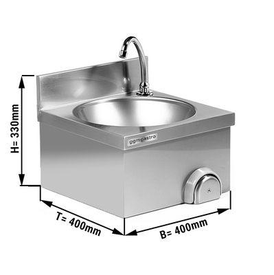 Handwaschbecken 40x40cm mit Mischbatterie (Kalt- & Warmwasseranschluss)