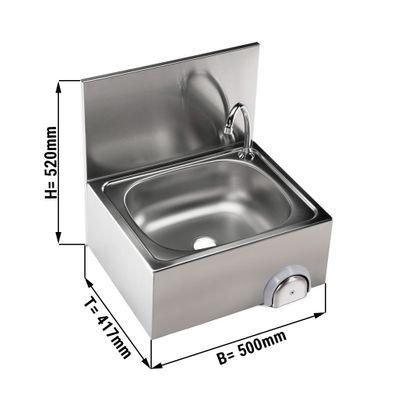 Handwaschbecken 50x40cm mit Mischbatterie (Kalt- & Warmwasseranschluss)