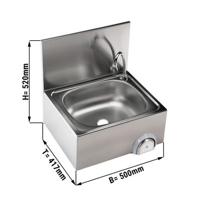 مغسلة للايادي مع خلاط مياه ساخن بارد قياسها 40 / 50 سم