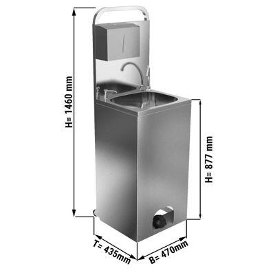 Mobiles Handwaschbecken/ Desinfektionsmittelspender - Beckenmaß: 410 x 350 mm