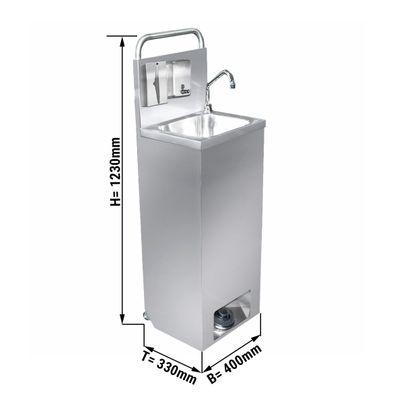 حوض غسيل يدوي متنقل / موزع مطهر - أبعاد الحوض: 400 × 300 مم