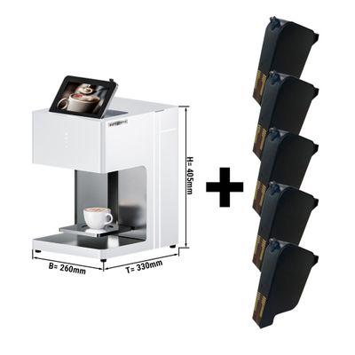 3D Kaffeedrucker - für 1 Tasse - inkl. 5 Farbpatronen in Kaffeebraun