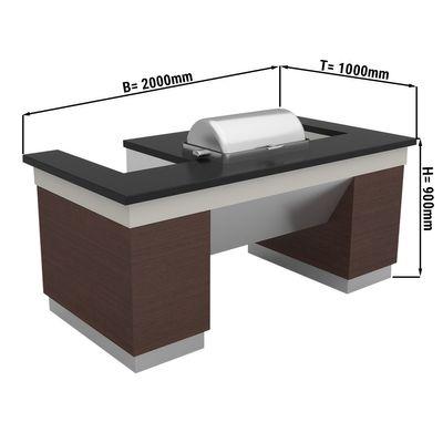 Kochstation - 2,0 x 1,0 m | Chafing dish | Warmbuffet | Zubereitungstisch | Buffettheke
