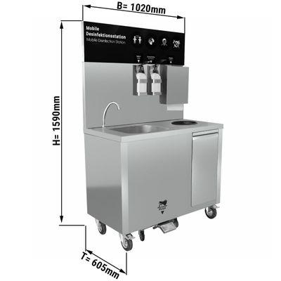 Mobiles Edelstahl Waschbecken mit Wasser-und Abwassertank, Mülleimer und Seifenspender