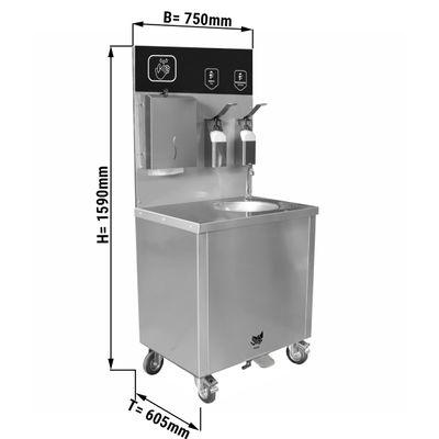 Mobiles Edelstahl Waschbecken mit Wasser-und Abwassertank, Seifen und Desinfektionsspender