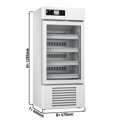 Medizinkühlschrank - 0,67 x 0,66 m - 226 Liter - mit 1 Glastür