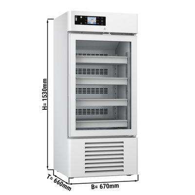 Medizinkühlschrank - 0,67 x 0,66 m - 244 Liter - mit 1 Glastür