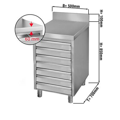 Drawer cabinet 0,5m - with 7 drawers for pizza dough balls - and upstand