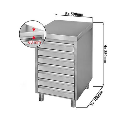 Drawer cabinet 0,5m - with 7 drawers for pizza dough balls