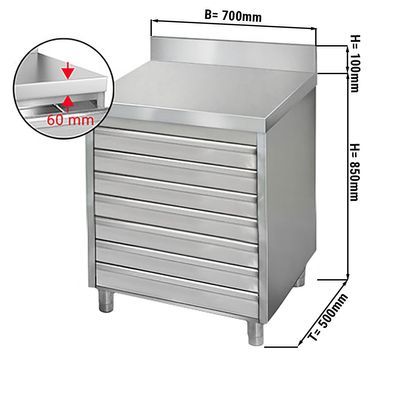 Drawer cabinet 0,7m - with 7 drawers for pizza dough balls - and upstand
