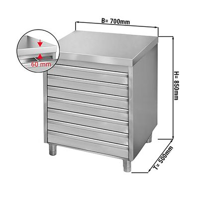 Drawer cabinet 0,7m - with 7 drawers for pizza dough balls