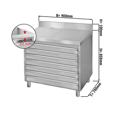 Drawer cabinet 0,9m - with 7 drawers for pizza dough balls - and upstand