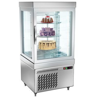 Panoramic display cabinet with 3 rotating glass shelves