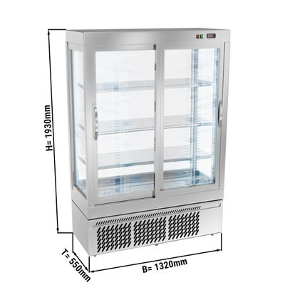 Panoramic display cabinet with 3 glass shelves