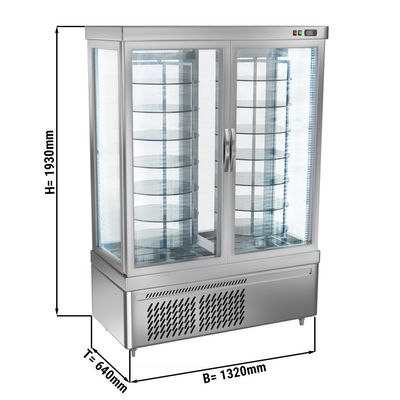 Panoramic display cabinet with 14 rotating glass shelves