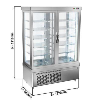 Panoramic display cabinet with 10 shelf trays