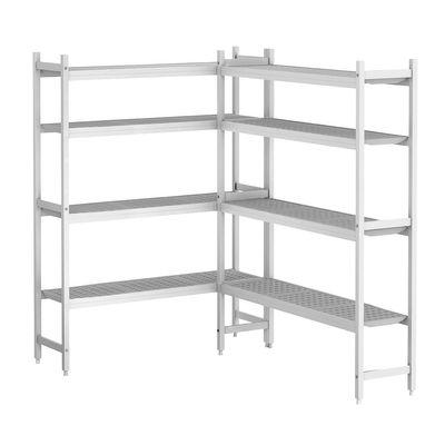 Kit d'étagères aluminium (anodisé) - forme en L à gauche - profondeur: 460 mm