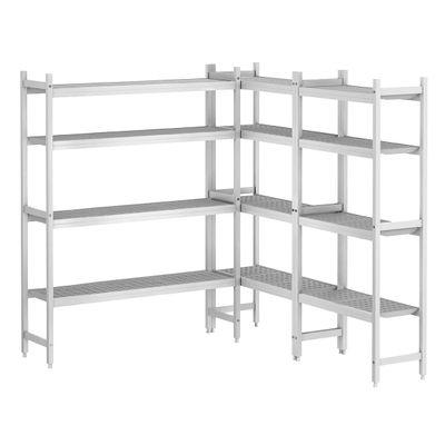 Kit d'étagères aluminium (anodisé) - forme en L à droite - profondeur: 460 mm
