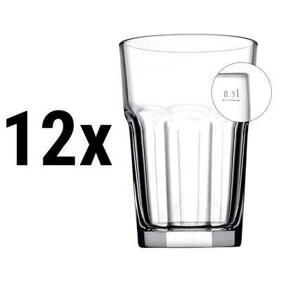 (12 Stück) CASABLANCA - Saft & Longdrinkglas - 355 cc - geeicht bei 0,3 Liter