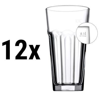 (12 Stück) CASABLANCA - Saft & Longdrinkglas - 365 cc - geeicht bei 0,3 Liter