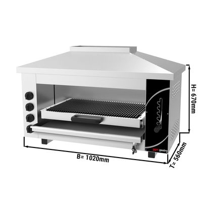 Pita oven/ salamander PRO with 4 radiators & water bath - 1,02 m | baking oven | toaster | grill | gas| Gastro