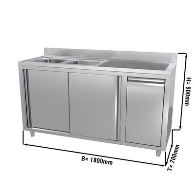 Sink and cupboard unit with waste bin - 1.8 m - 2 bowls on the left - with upstand and double doors