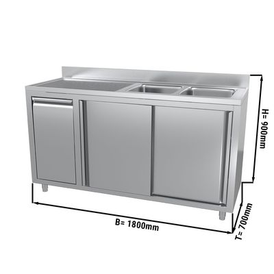 Sink and cupboard unit with waste bin - 1.8 m - 2 bowls on the right - with upstand and double doors