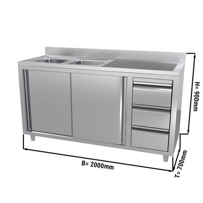 Sink and cupboard unit with 3 drawers - 2.0 m - 2 bowls on the left - with upstand and double doors