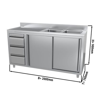 Sink and cupboard unit with 3 drawers - 2.0 m - 2 bowls on the right - with upstand and double doors