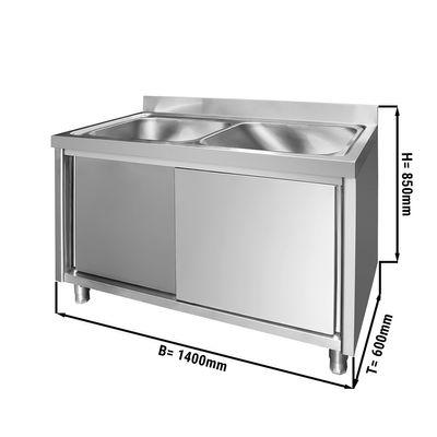 Spülschrank - 1,4 m - 2 Becken mittig - L 50 x B 40 x T 25 cm