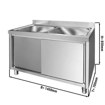 Spülschrank - 1,4 m - 2 Becken mittig -  L 60 x B 50 x T 30 cm