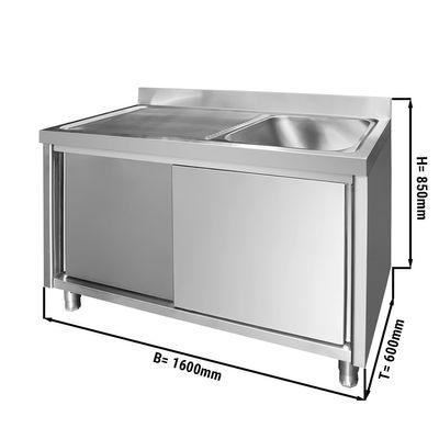 Edelstahl Spülschrank PREMIUM - 1,6 m - 1 Becken rechts - L 50 x B 40 x T 25 cm